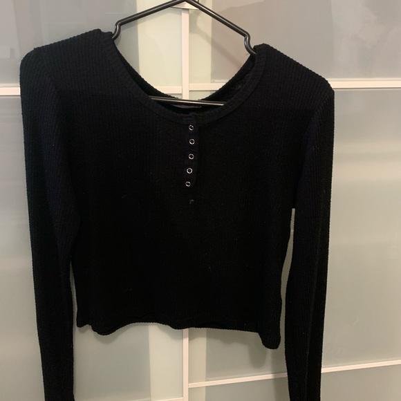 Black long sleeve button up fashion nova top